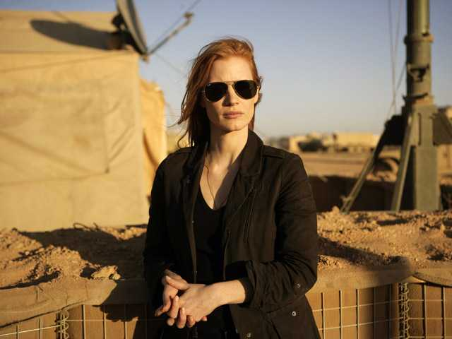 "This undated publicity film image provided by Columbia Pictures shows Jessica Chastain in a scene from ""Zero Dark Thirty."""
