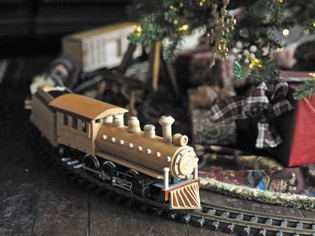 A hand-made wood train at the home of Chris Davis.
