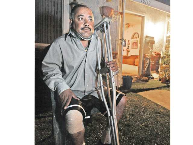 Hit-and-run victim Francisco Lara sits in front of his sister's home in Canyon Country on Wednesday.