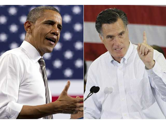 U.S. President Barack Obama, left, and Republican presidential candidate Mitt Romney.