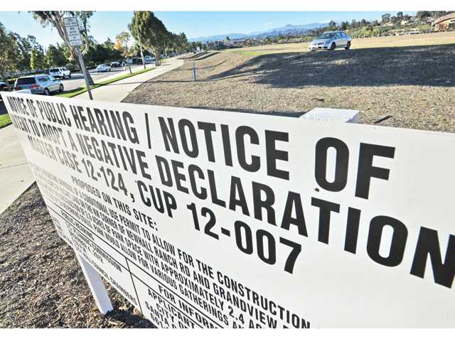 A sign is posted at the corner of Grandview Drive and Newhall Ranch Road on Thursday at the site of a proposed city park and parking lot in Valencia.