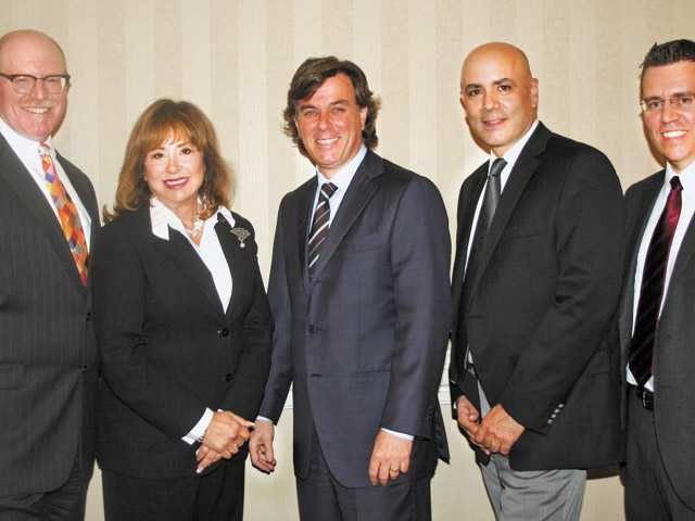 VICA Chair David Adelman (Greenberg & Bass), VICA Vice Chair Francine Oschin (Oschin Partners), Keynote Speaker Peter Lowy Co-CEO Westfield Corp., Laurence Darmiento (San Fernando Valley Business Journal) and Robert Case (Pratt & Whitney Rocketdyne) at Valley Industry and Commerce Association's 63rd annual meeting on Thursday.
