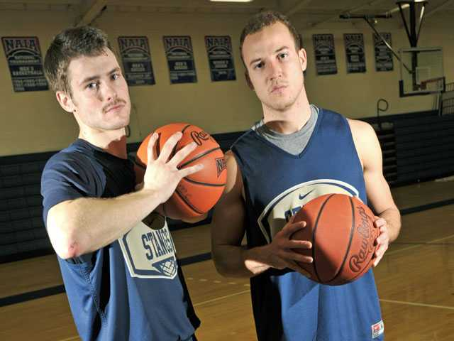 The Master's College seniors Leif Karlberg, left and Devin Dyer were two of the team's top scorers last season.