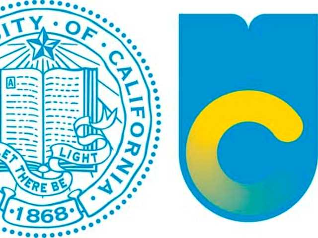 This image shows the old logo of the University of California, left, with the new logo. But, more than 46,000 people had signed an online petition calling on the university to scrap the recently designed logo.