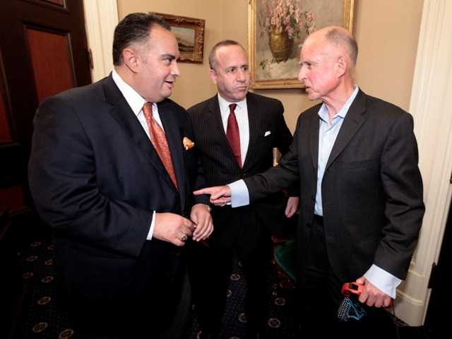 Gov. Jerry Brown, right, meets with Assembly Speaker John Perez, left, and Senate Speaker Darrell Steinberg Aug. 31. His office anounced Wednesday that Brown is being treated for prostate cancer.