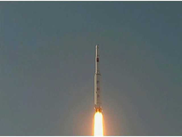 North Korea's Unha-3 rocket lifts off from the Sohae launching station in Tongchang-ri, North Korea, Wednesday.