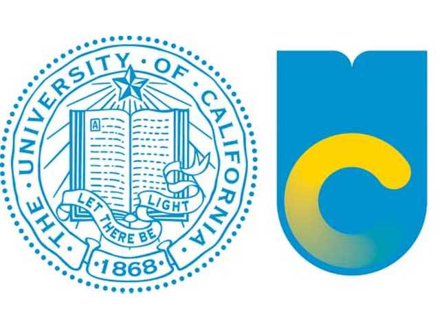 This image shows the old logo of the University of California, left, with the new logo.