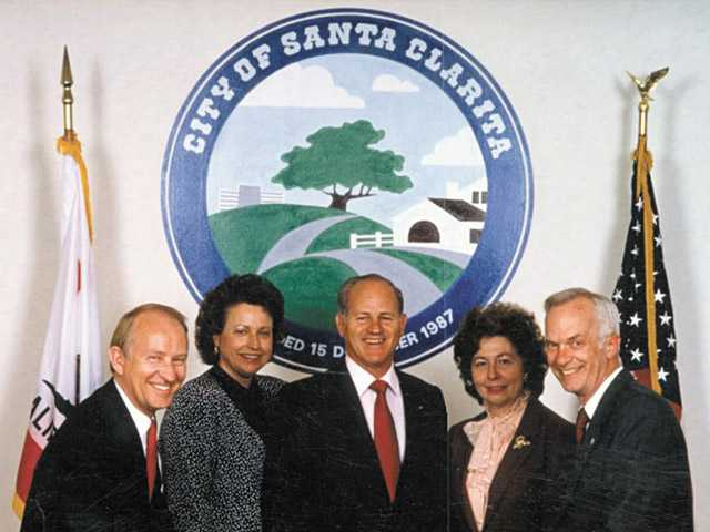 From left, Buck McKeon, Jan Heidt, Dennis Koontz, Jo Anne Darcy and Carl Boyer pose for a photo.