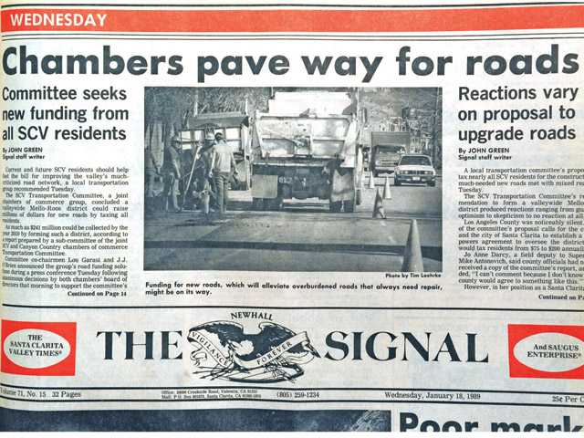 A 1989 front page of The Signal highlights city efforts to upgrade roads.
