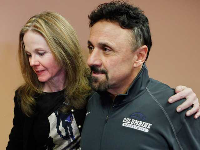 Frank DíAngelis, right, Columbine High School Principal at time of the 1999 school massacre and still principal today talked about the Connecticut School Shooting at Jefferson County School headquarters in Golden, Colo., on Friday.