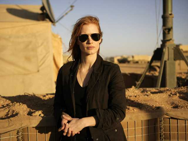 "This image shows Jessica Chastain playing a member of the elite team of spies and military operatives in ""Zero Dark Thirty."""