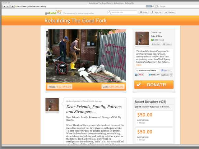 This Dec. 19 image shows a frame grab of gofundme.com. This web page solicits donations to rebuild a New York restaurant, The Good Fork.