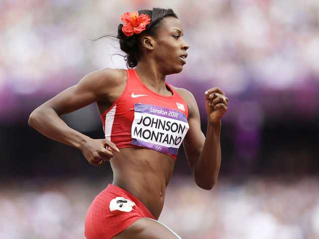 United States' Alysia Johnson Montano competes in a women's 800-meter heat during the athletics in the Olympic Stadium at the Summer Olympics, London, on Aug. 8.