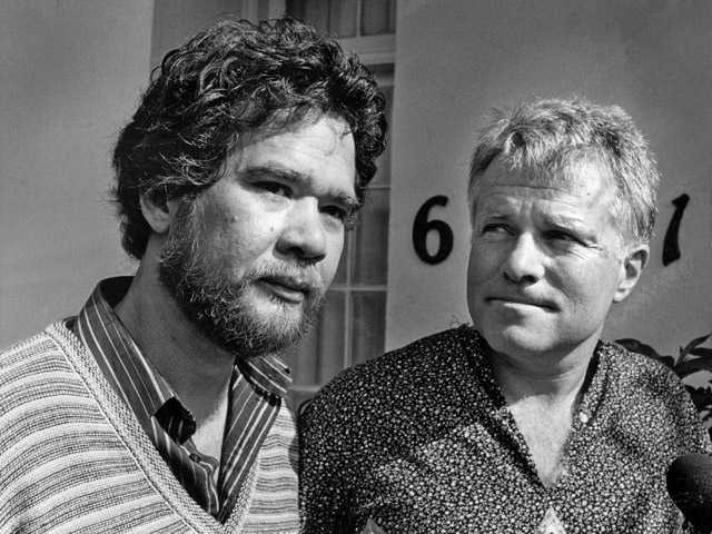 In this May 10, 1984 photo, gay partners Richard Adams, left, and Anthony Sullivan appear at a news conference.