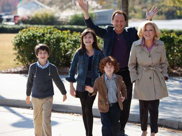 "This undated publicity photo released by Twentieth Century Fox and Walden Media shows Billy Crystal as Artie and Bette Midler as Diane, who agree to babysit their three grandkids, from left, Joshua Rush as Turner, Bailee Madison as Harper and Kyle Harrison Breitkopf as Barker in a scene from the film, ""Parental Guidance."""