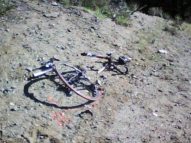 This photo shows the bicycle involved in a head-on collision on Little Tujunga Road off Sand Canyon Road on Saturday.