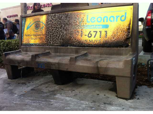 A burned city bus bench seen in the Van Nuys section of Los Angeles on Thursday.