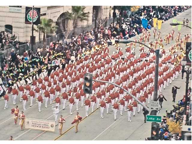 Pasadena City College Tournament of Roses Honor Band at the parade on Tuesday. Several local high school students were selected to participate in the band.