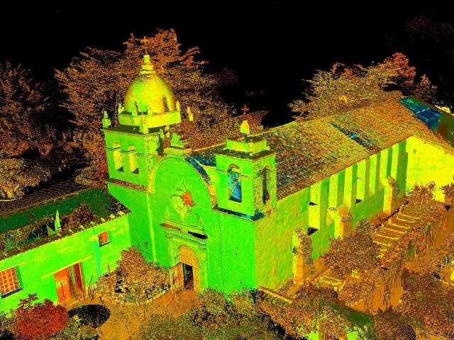 A rendering of the Carmel Mission is seen in an image made from laser-scanning technology.
