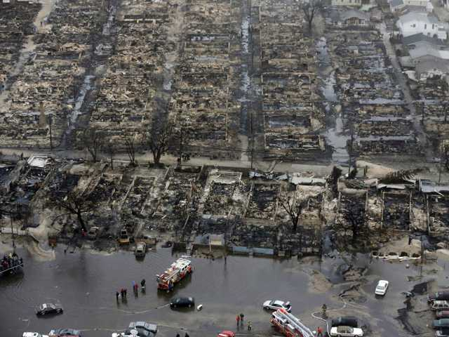 An aerial view of burned-out homes in the Breezy Point section of the Queens borough New York.