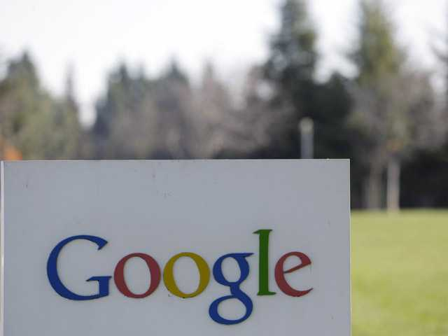 Photo shows a Google sign at the company's headquarters in Mountain View.