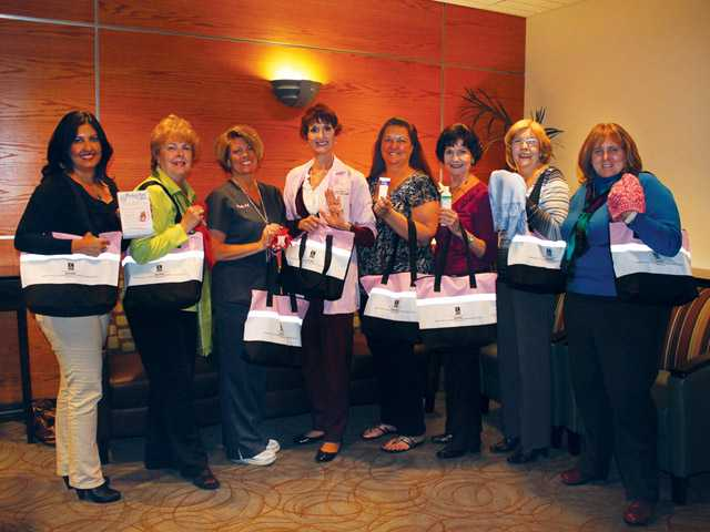 Members of Soroptimist International of Santa Clarita Valley recently delivered 25 comfort bags to the Shiela R. Veloz Breast Imaging Center on the campus of Henry Mayo Newhall Memorial Hospital in Valencia.