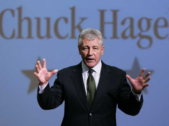In this 2007 file photo, Chuck Hagel, R-Neb., speaks during an appearance at Bellevue University.