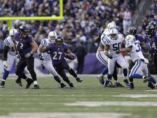 Indianapolis Colts defensive back Josh Gordy (27) works against the Indianapolis Colts on Sunday in Baltimore.