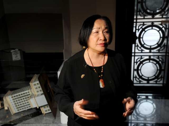 Oakland Mayor Jean Quan surveys damage to City Hall on Jan. 29, 2012, in Oakland.