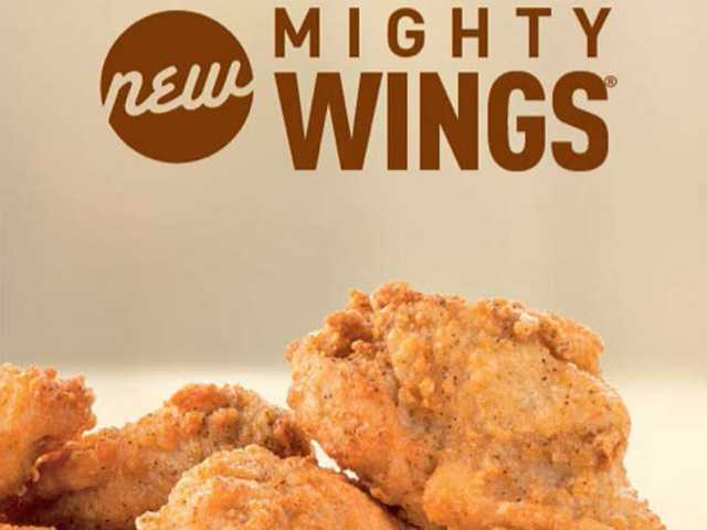 "This undated product image provided by McDonald's shows the restaurant's new ""Mighty Wings""offering on the store's menu."
