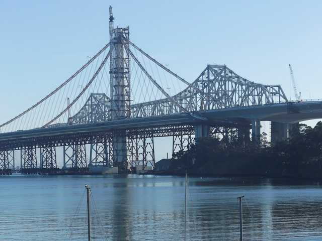 A tanker struck Oakland-San Francisco Bay Bridge Monday. The bridge as it appeared Friday, Jan. 4 from Treasure Island in San Francisco.