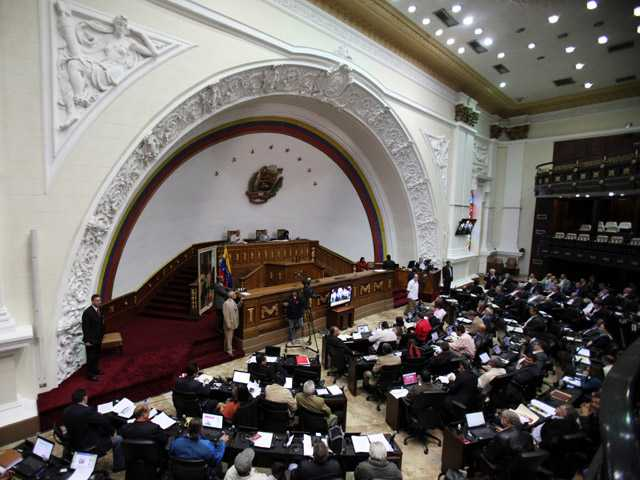 Members of Venezuela's National Assembly attend a session in Caracas, Venezuela.