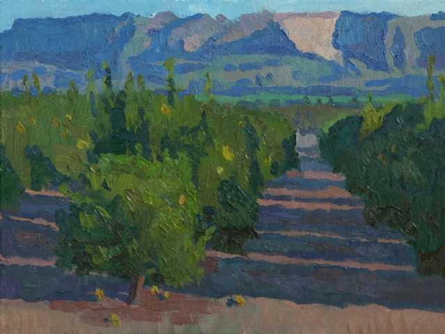 """Oil painting """"Fillmore Orange Groves"""" by Eric Merrell."""