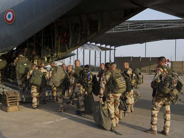 French soldiers of the 21st Marine Infantry Regiment boarding to Bamako, the capital of Mali.