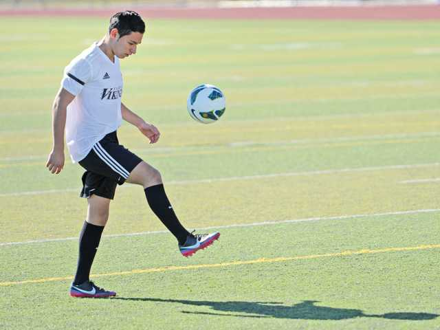 Valencia senior forward Jesus Fernandez, a fourth-year varsity player is one of the best players in the Foothill League at his position.
