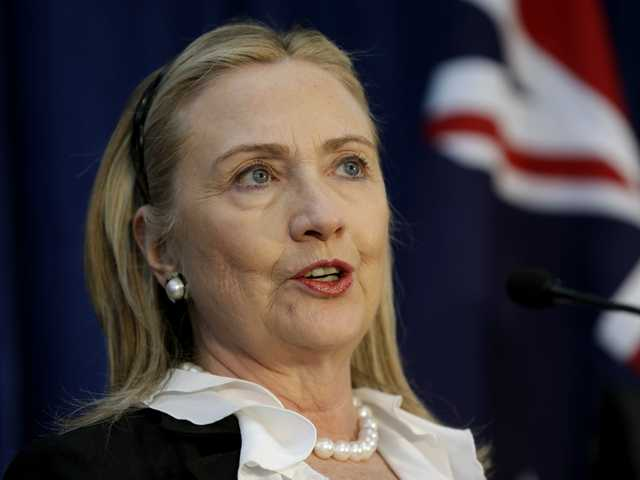 U. S. Secretary of State Hillary Rodham Clinton speaks at the annual Australia-United States Ministerial Consultations in Perth, Australia.