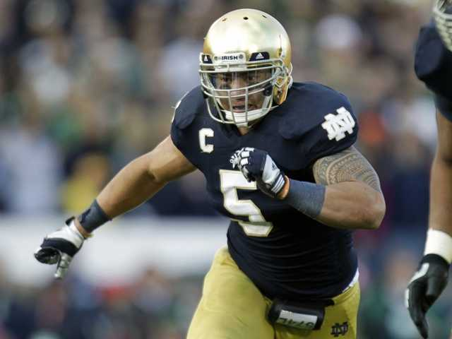 Notre Dame linebacker Manti Te'o chases the action during the second half of an NCAA college football game Oct. 20, 2012. Te'o was the victim of a hoax.