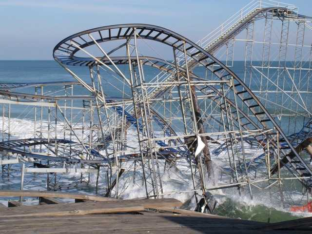 The Jet Star roller coaster, shown here in Seaside Heights N.J., plunged into the ocean when Superstorm Sandy wrecked the amusement pier on which it sat.