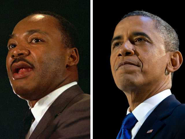 In this combination of file photos, the Rev. Martin Luther King Jr. speaks at a peace rally in New York on April 15, 1967, left, and President Barack Obama speaks at an election night party in Chicago after winning a second term in office on Nov. 7, 2012. (AP)