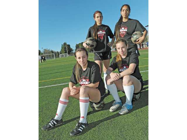 Hart High senior soccer players (front row from left) McKinley Kane, Hailey Jenkins, (back row from left) Presley Lambert and Ally Perez have been integral in turning around Hart's fortunes after a slow start to the season.