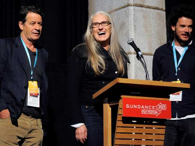 "Jane Campion, center, co-writer and co-director of the Sundance Channel scripted series ""Top of the Lake,"" addresses the audience alongside co-writer Gerard Lee, left, and co-director Garth Davis at the premiere of the series at the 2013 Sundance Film Festival Sunday."