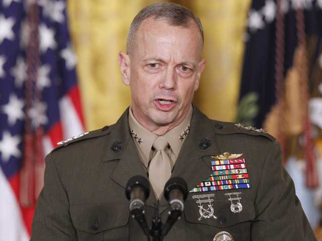 In an April 28, 2011, file photo then-Lt. Gen. John Allen, speaks in the East Room of the White House in Washington.