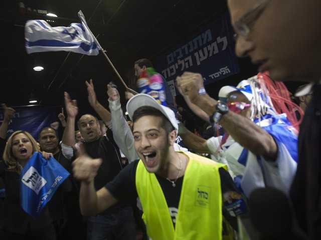 Supporters of the Israel's Prime Minister Benjamin Netanyahu celebrate in Tel Aviv, Israel, Tuesday.