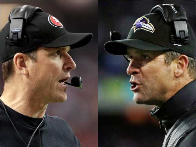 San Francisco 49ers head coach Jim Harbaugh, left, in Atlanta, and Baltimore Ravens head coach John Harbaugh in Foxborough, Mass., get ready for for Brother Bowl.