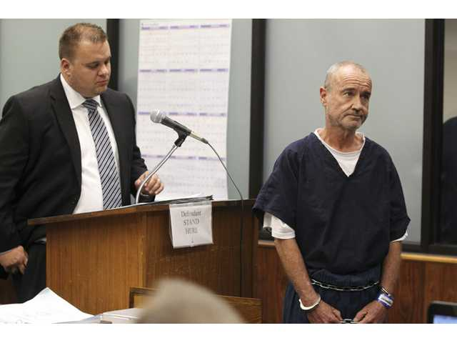 "Peter Robbins, right, at his arraignment. Robbins, who faces charges of stalking, was the voice of Charlie Brown in several ""Peanuts"" episodes."