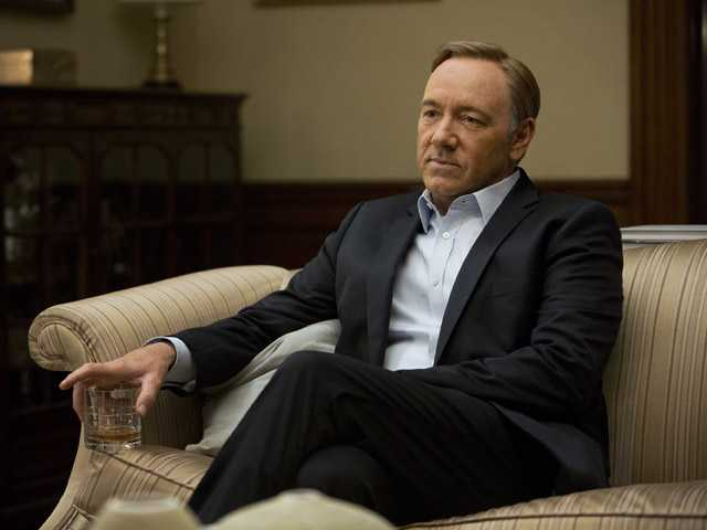 "This image released by Netflix shows Kevin Spacey in a scene from the Netflix original series, ""House of Cards."""