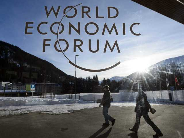 Participants leave the Congress Center the last day of the 43rd Annual Meeting of the World Economic Forum, in Davos, Switzerland.