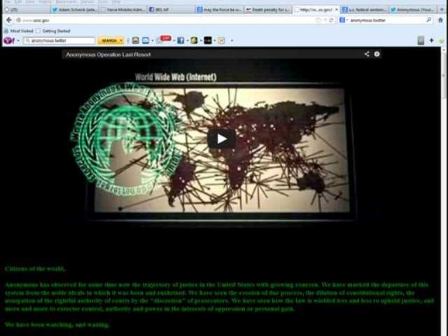 This screen shot shows the website of the U.S. Sentencing Commission after it was hijacked by the hacker-activist group Anonymous, early Saturday, Jan. 26, 2013, to avenge the death of Aaron Swartz, an Internet activist who committed suicide.