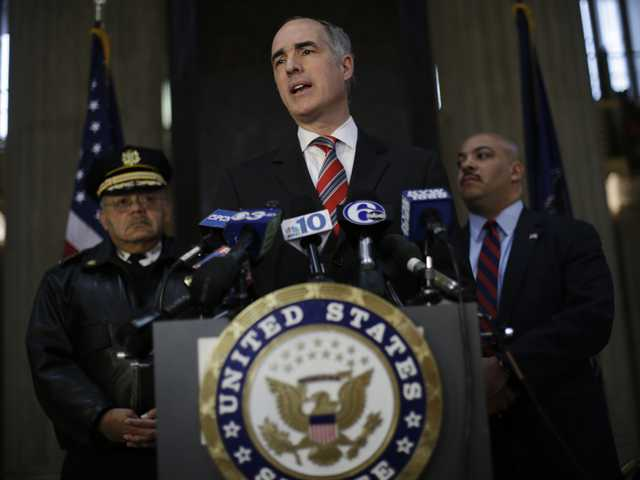 Sen. Bob Casey, D-Pa., center, talks during a news conference at 30th Street Station, Jan. 17, in Philadelphia. (AP)