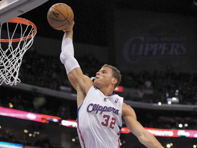 Los Angeles Clippers forward Blake Griffin goes up for a dunk on Sunday in Los Angeles.